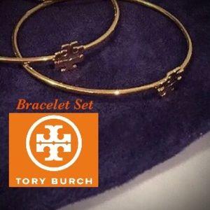 ‼️SET‼️ TORY BURCH GOLD LOGO BANGLE BRACELETS